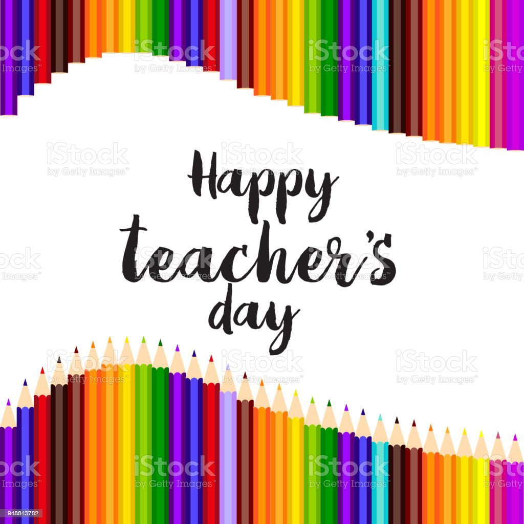 Happy Teachers Day Greeting Card With Hand Written Text Vector Stock