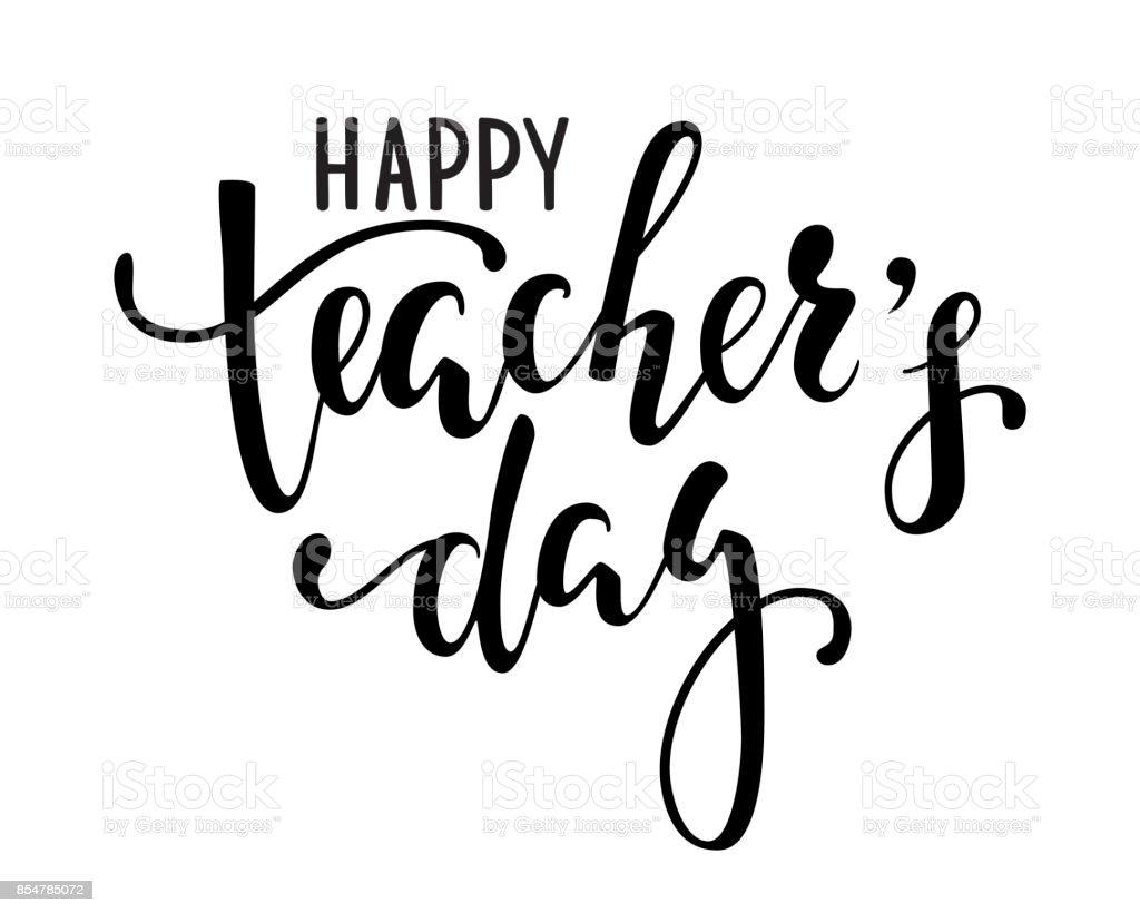Día del maestro feliz. Mano dibujada a pluma del cepillo letras aisladas sobre fondo blanco. diseño de tarjeta de felicitación navideña e invitación, volantes, afiches, banners - ilustración de arte vectorial
