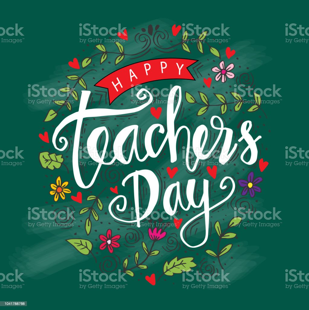 Happy teachers day hand lettering for greeting card stock vector art happy teachers day hand lettering for greeting card royalty free happy teachers day m4hsunfo