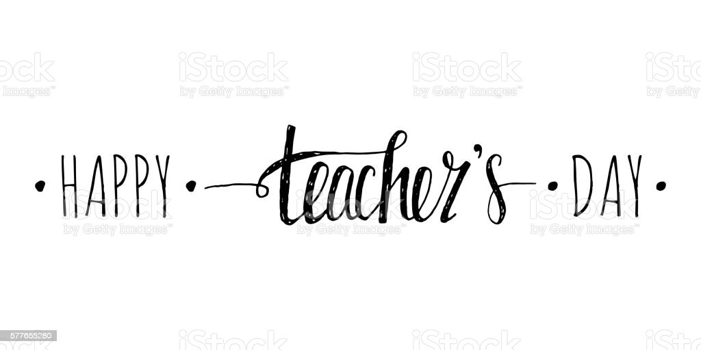 Happy Teachers Day Handwriting Grunge Inscription Stock