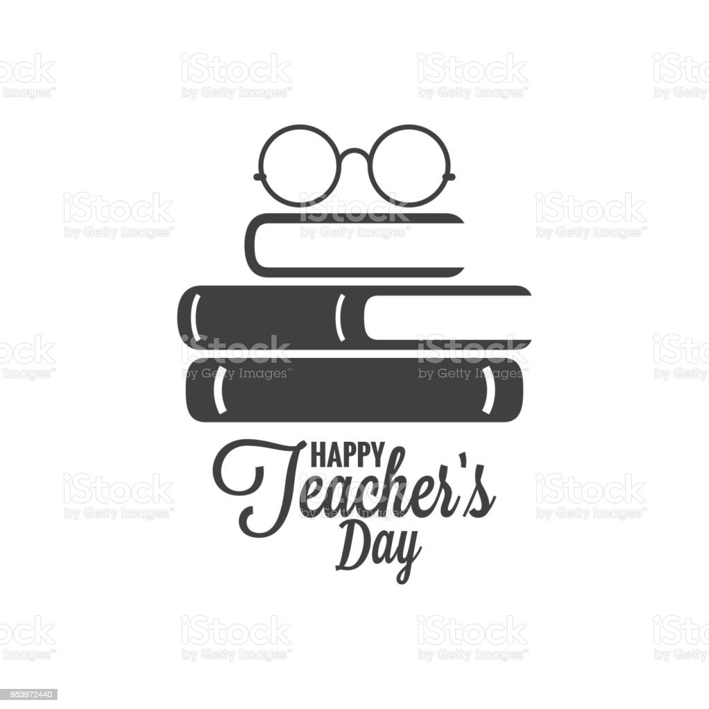 Happy teachers day icon. Glasses and book logo on white background vector art illustration