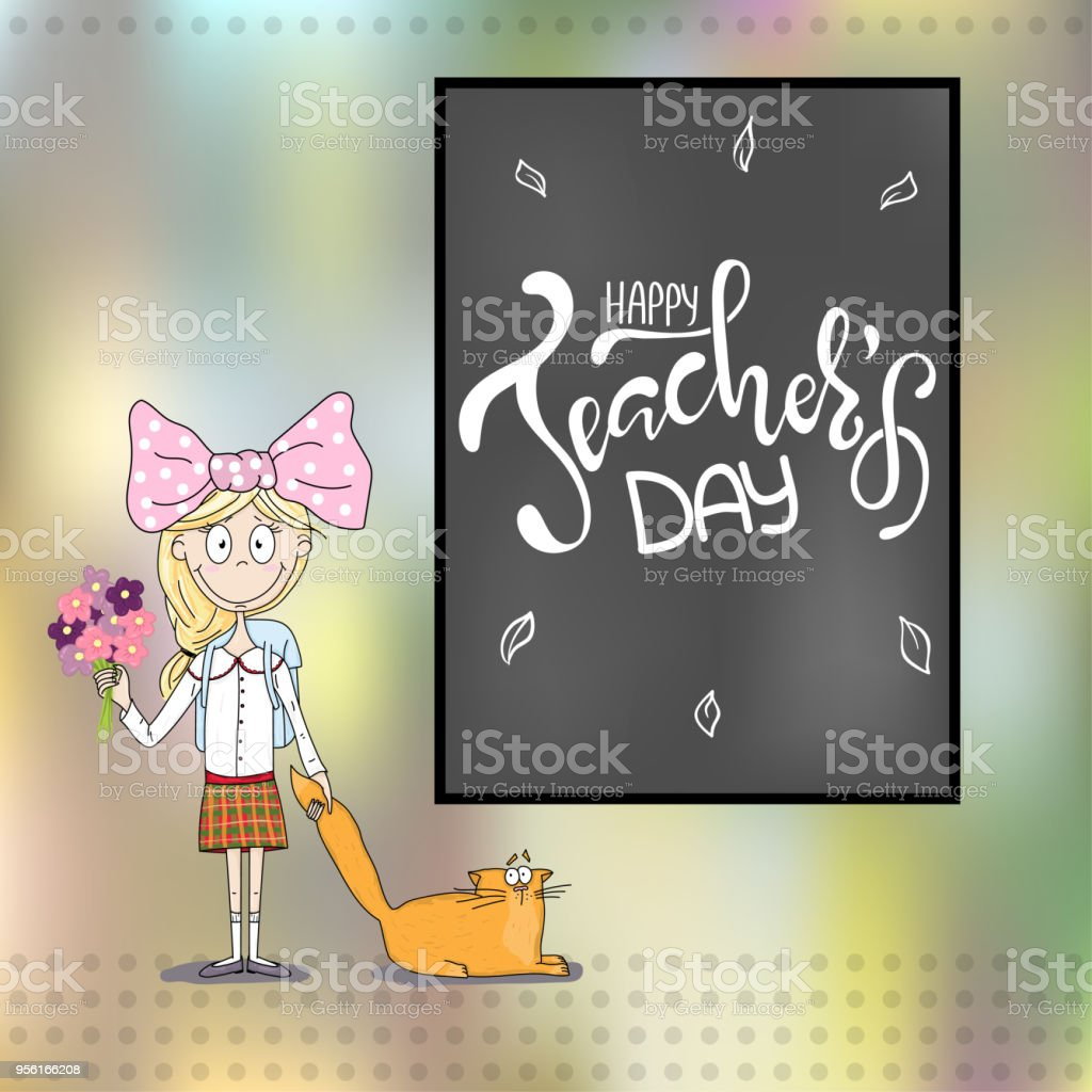 Happy Teachers Day Inscription Greeting Card With Calligraphy Stock