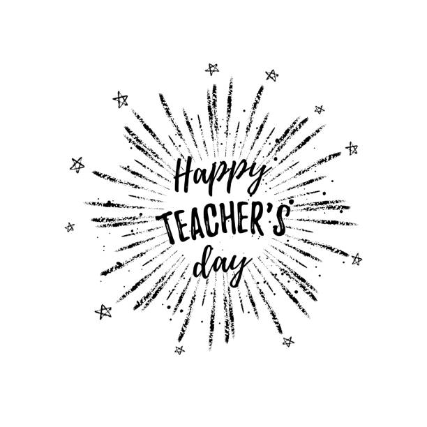 happy teacher's day label, greeting card, poster. vector black quote on a white background with stars. - thank you teacher stock illustrations, clip art, cartoons, & icons