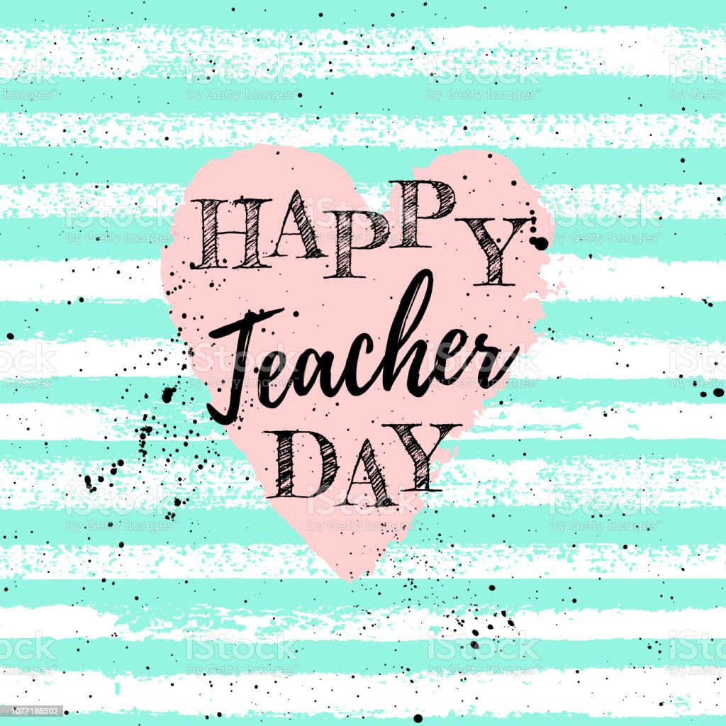 Happy Teacher\'s Day label, greeting card, poster. Vector quote with...