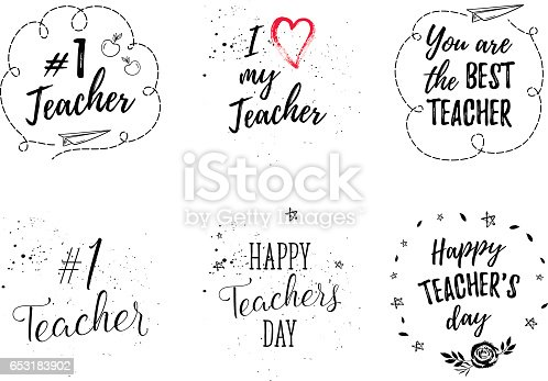 Happy Teachers Day Labels Greeting Cards Posters Set