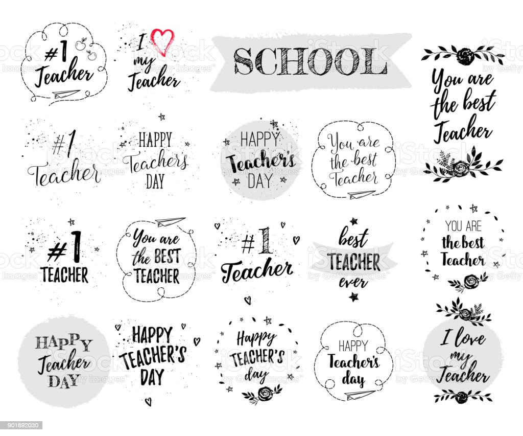 Happy teachers day labels greeting cards posters set vector quote i happy teachers day labels greeting cards posters set vector quote i love my m4hsunfo