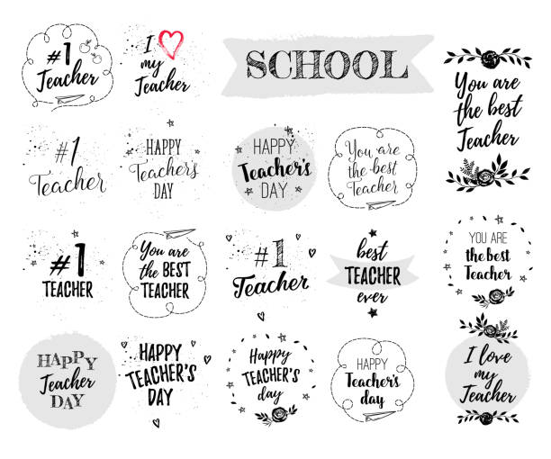 happy teacher's day labels, greeting cards, posters set. vector quote i love my teacher, you are the best teacher on a white background with hearts, stars, flowers, airplane. - thank you teacher stock illustrations, clip art, cartoons, & icons
