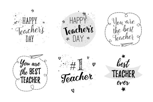 Happy Teacher's Day labels, greeting cards, posters set. Vector quote I love my Teacher, You are the best Teacher on a white background with hearts, stars, flowers, airplane. Happy Teacher's Day labels, greeting cards, posters set. Vector quote I love my Teacher, You are the best Teacher on a white background with hearts, stars, flowers, airplane. thank you teacher stock illustrations