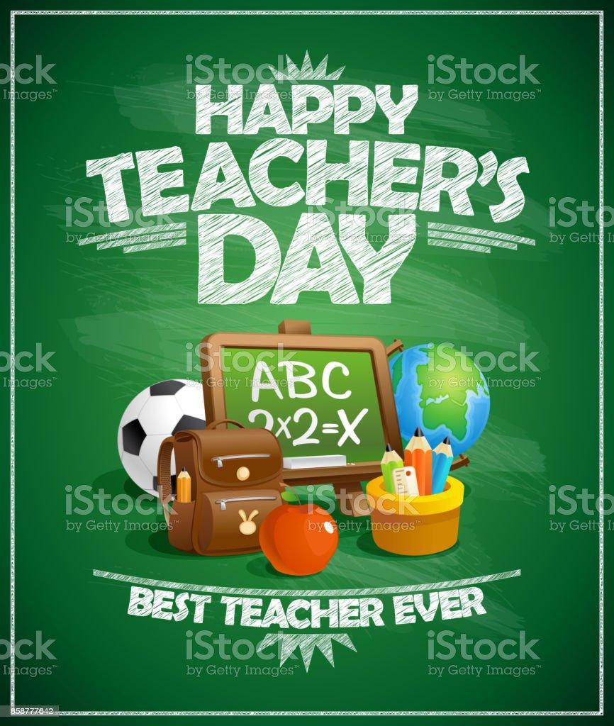 Affiche de la fête de l'enseignant heureux - Illustration vectorielle