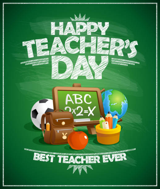 Happy teacher`s day poster vector art illustration