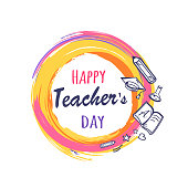 Happy teachers day promo poster depicting orange circle with icons of books, pen and pencil, vector illustration isolated on white, logo design