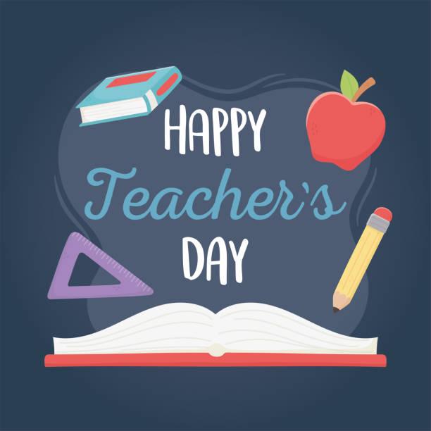 stockillustraties, clipart, cartoons en iconen met gelukkige lerarendag, schoolboekappelheerser en potlood - waardering