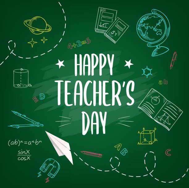 ilustrações de stock, clip art, desenhos animados e ícones de happy teachers day, school chalk sketch background - teacher school solo