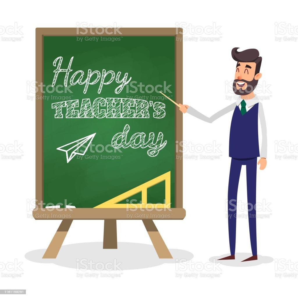 Happy teacher\'s day. School teacher with pointer near blackboard....