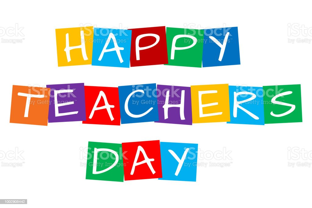 Happy Teachers Day Text In Colorful Rotated Squares Stock