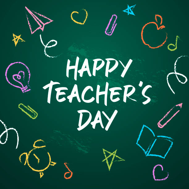 Happy Teacher's Day Celebrate Teacher's Day with icon set of paper airplane, apple, clip, alarm clock, light bulb, book, pencil, heart shape, music note and star drawing on the green chalkboard thank you teacher stock illustrations