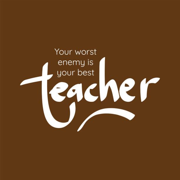 Happy teacher's day vector illustration. Hand painted lettering phrase. Happy teacher's day vector illustration. Hand painted lettering phrase. teacher appreciation week stock illustrations