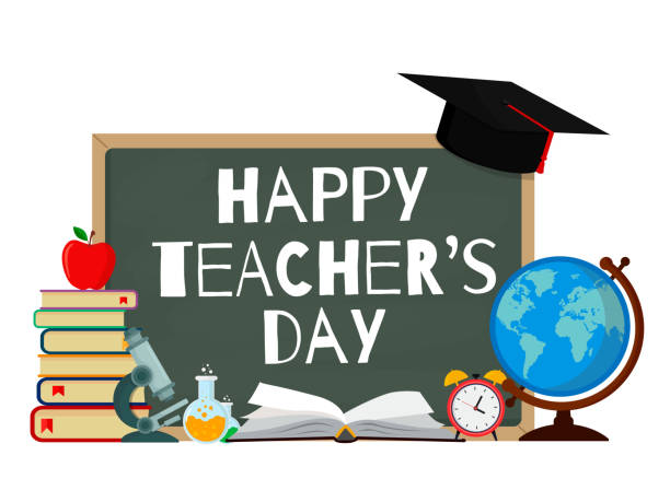 Happy Teacher's Day. Vector illustration web banner isolated on white background. EPS10. vector art illustration