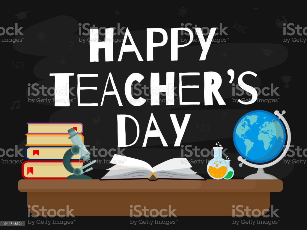 Happy Teacher's Day. Vector illustration web banner with black background. EPS10. vector art illustration
