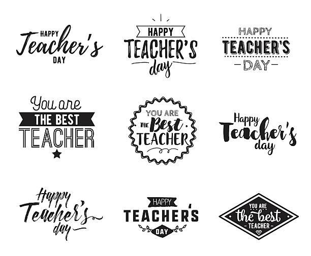 happy teachers day vector typography - thank you teacher stock illustrations, clip art, cartoons, & icons