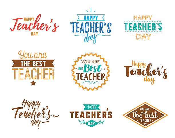 Happy teachers day vector typography Happy teachers day vector typography set. Lettering design for greeting card, logo, stamp or banner. thank you teacher stock illustrations