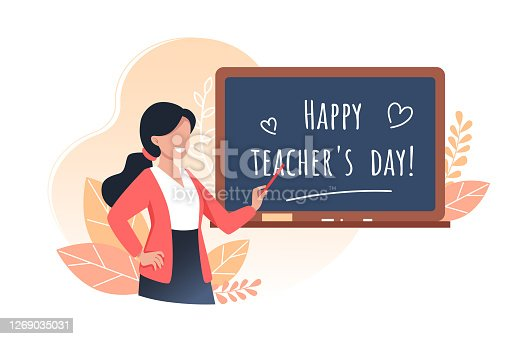 istock Happy teachers day, young woman teacher holds a pointer and stands near the school board, vector illustration 1269035031