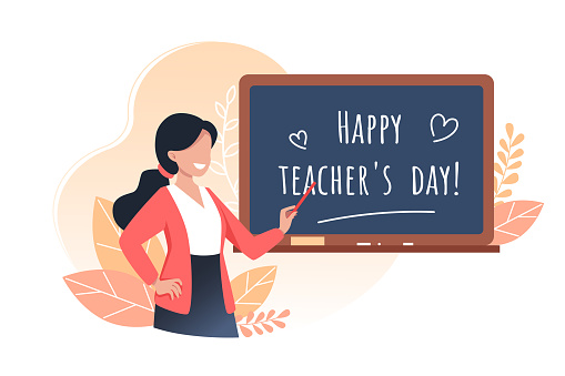 Happy teachers day, young woman teacher holds a pointer and stands near the school board, vector illustration