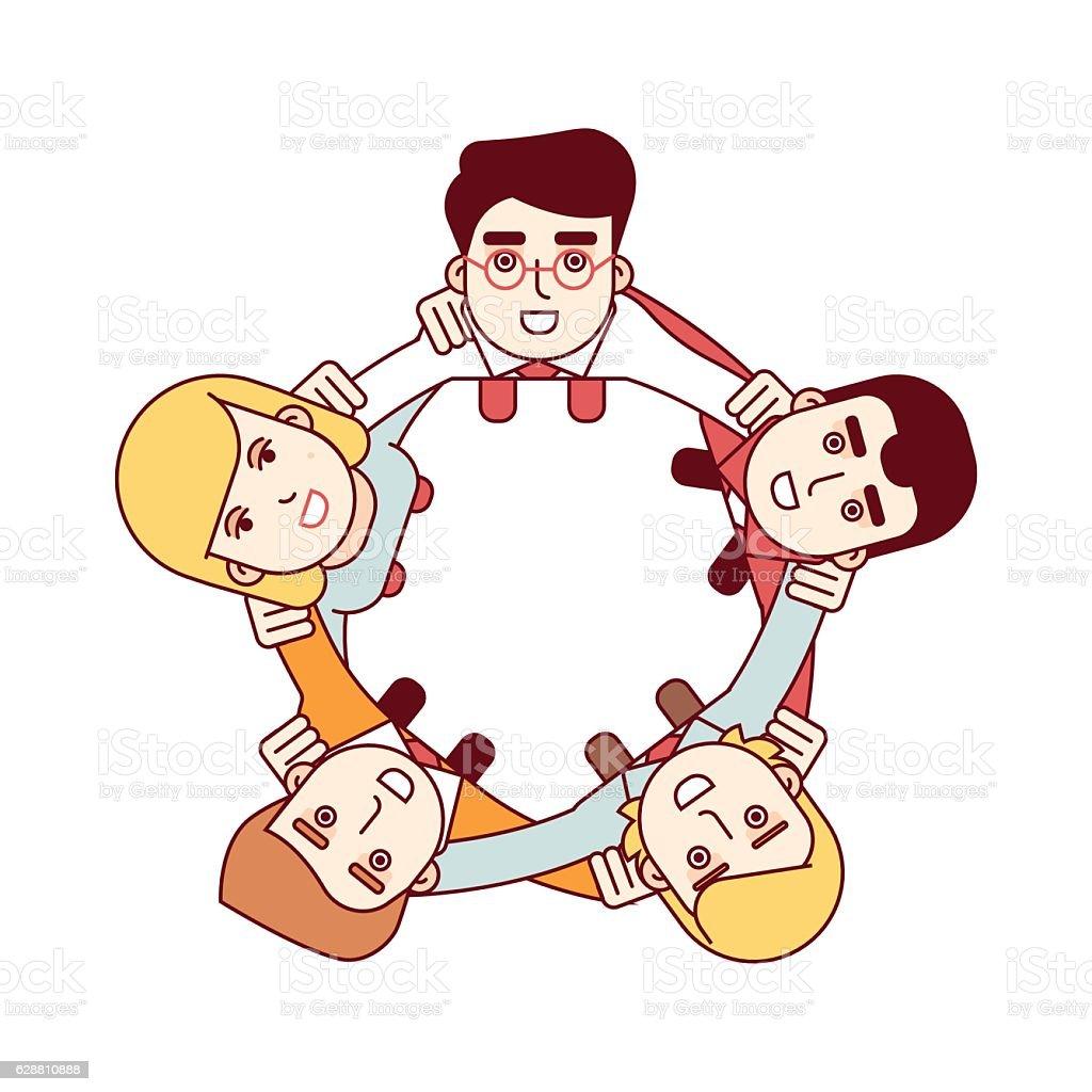 Happy teamwork concept. Aerial top view – Vektorgrafik