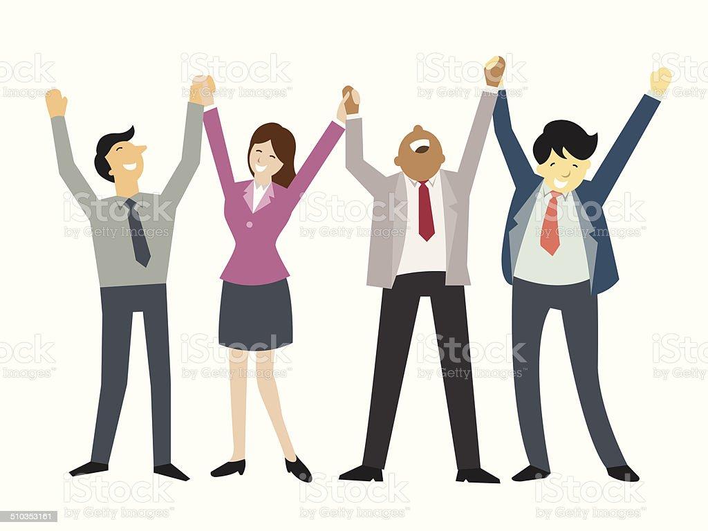 Happy teamwork vector art illustration