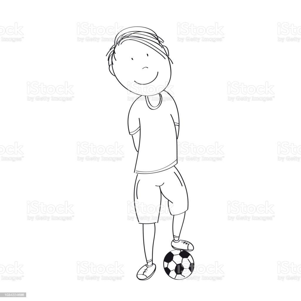 Glucklicher Junge Mit Ball Bereit Zum Fussballspielen Fussball