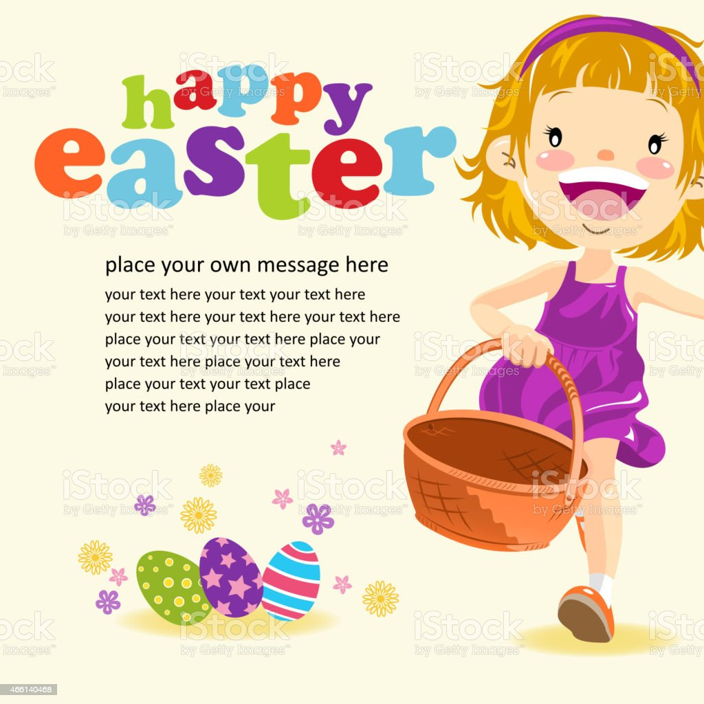 Happy Teenage Girl Paying Easter Egg Hunt Stock Illustration Download Image Now Istock