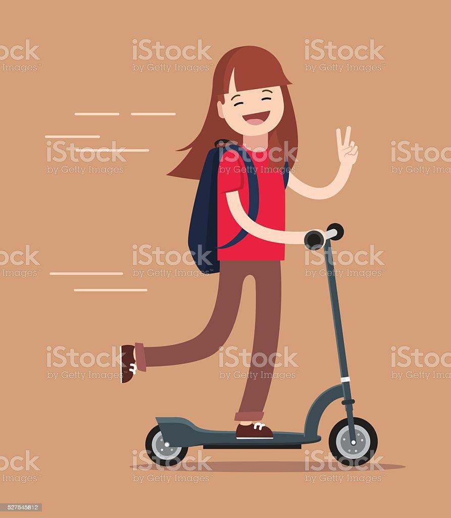 Happy teenage girl  riding kick scooter outdoors. vector art illustration