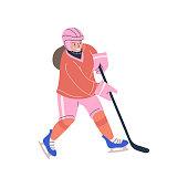 Happy teenager girl playing ice hockey game