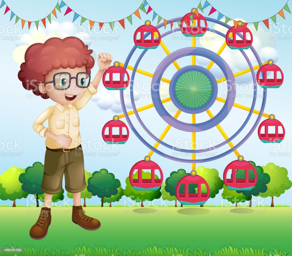 happy teenager near the ferris wheel royalty-free happy teenager near the ferris wheel stock vector art & more images of adult