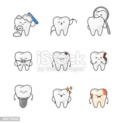 Glückliche Zähneaufkleberset Mundhygiene Zahnreinigung Symbole ...