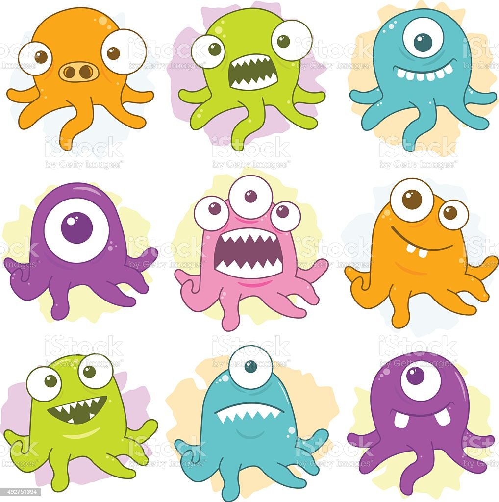 Happy Tentacle Creatures Set vector art illustration