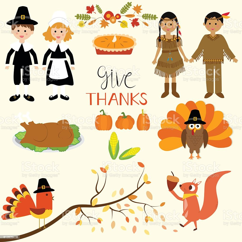 Happy Thanks giving with pilgrim  and Indian costume children vector art illustration