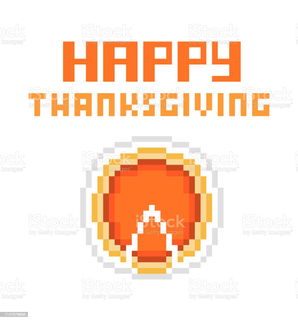 Joyeux Thanksgiving 8 Bit Pixel Art Carte De