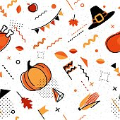 Happy thanksgiving abstract background in 80s retro style. Seamless retro pattern for posers and cards with holiday symbols. Vector illustration