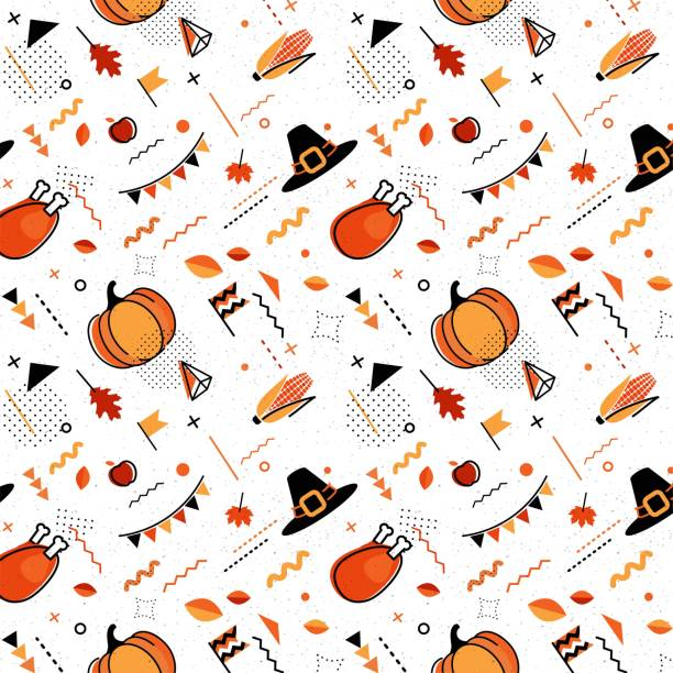 happy thanksgiving abstract background in 80s style. - thanksgiving turkey stock illustrations