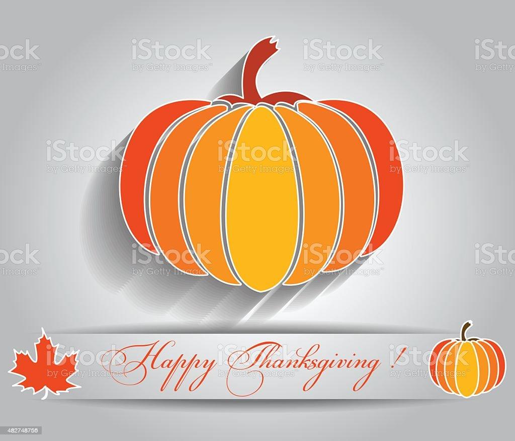 Happy thanksgiving and autumn vector art illustration