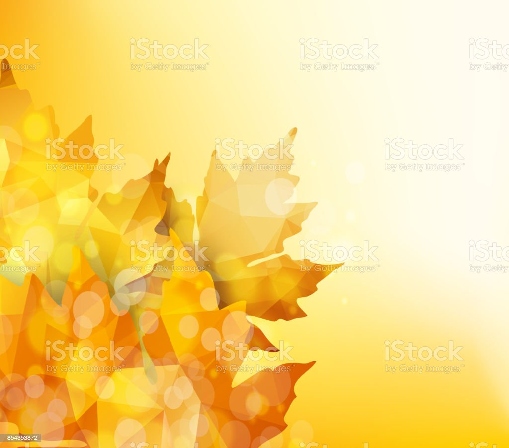 Happy Thanksgiving. Autumn background with geometrical leaves vector art illustration