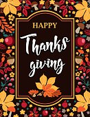 Happy Thanksgiving - Autumn floral background with leaves, mushrooms and apples.