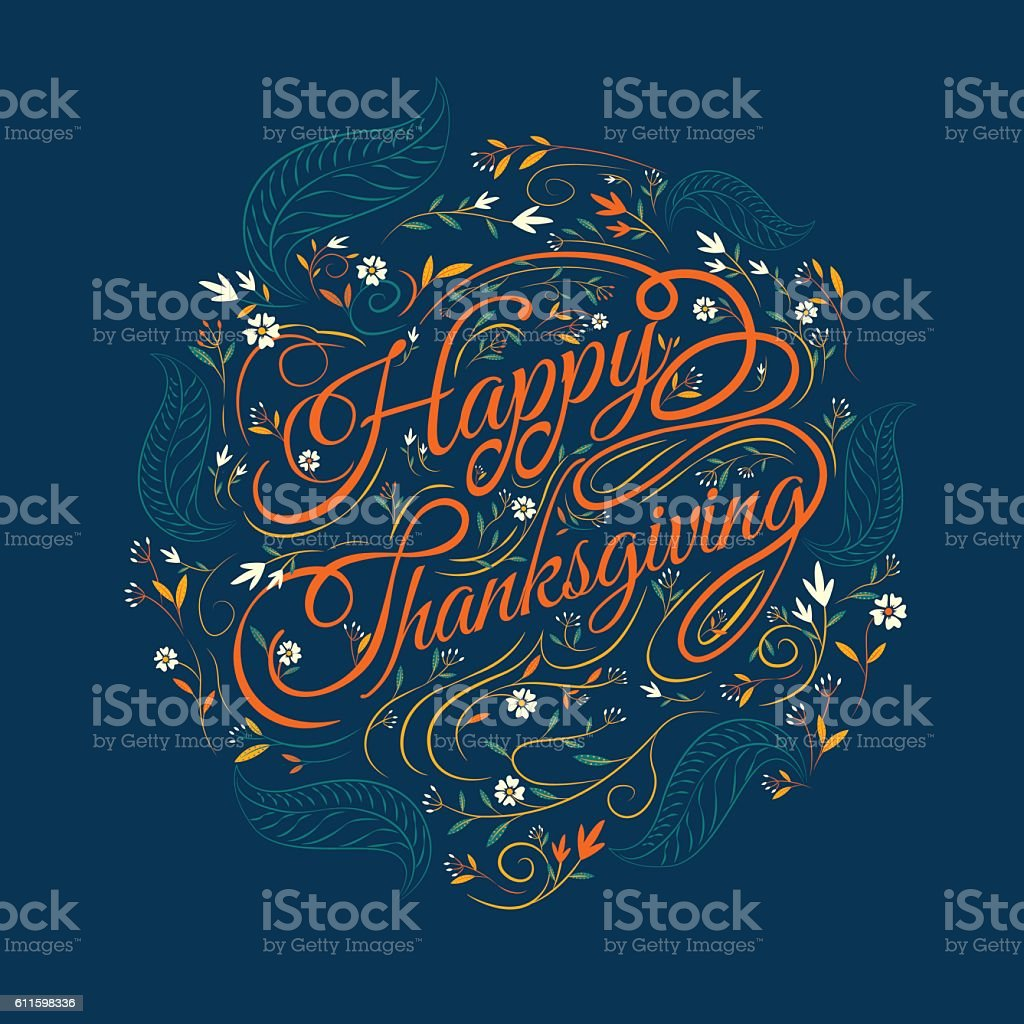 Happy  Thanksgiving, autumn vector art illustration