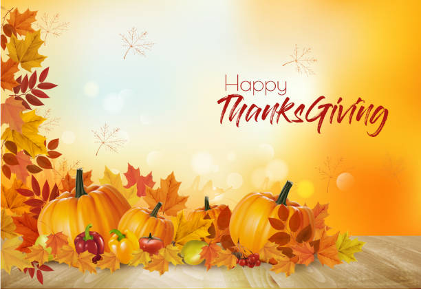 happy thanksgiving background with autumn vegetables and colorful leaves. vector. - thanksgiving dinner stock illustrations
