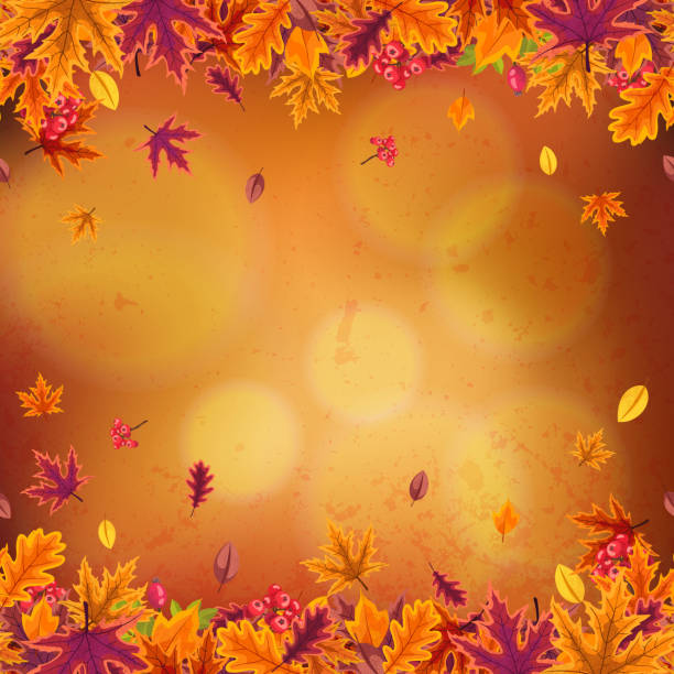 happy thanksgiving background with leaves of different autumn trees and berries. - thanksgiving stock illustrations