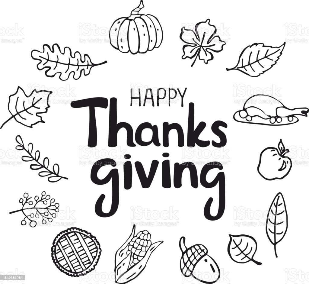 Happy Thanksgiving Black White Silhouette Doodle Cartoon Greeting Card Background Royalty Free