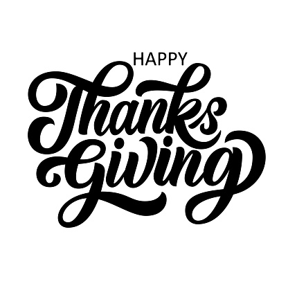Happy thanksgiving brush hand lettering, isolated on white background.