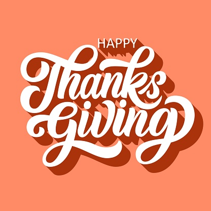 Happy thanksgiving brush hand lettering with 3d shadow