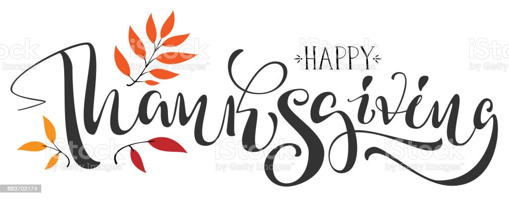 Happy Thanksgiving calligraphy text for greeting card vector art illustration